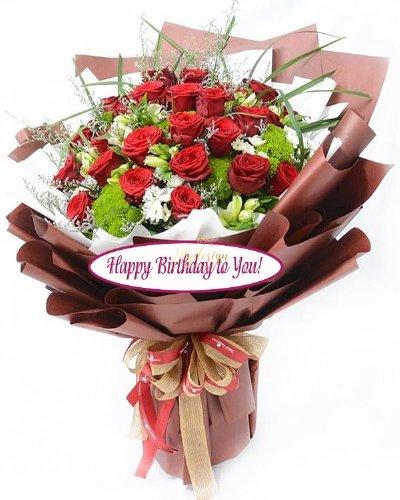 Bó hoa hồng Happy Birthday - LDNK138
