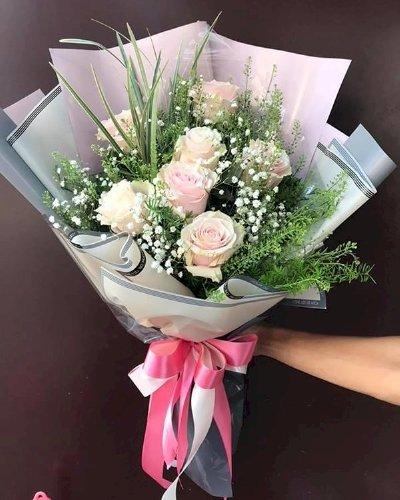 Bó hoa hồng kem vintage nhẹ nhàng tặng chúc mừng - LDNK144
