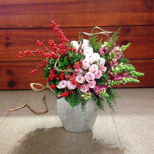 Bình hoa chúc mừng để bàn tone màu ngọt ngào - LDNK66