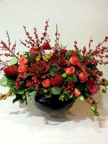 Bình hoa để bàn trang trí tone màu đỏ - LDNK42