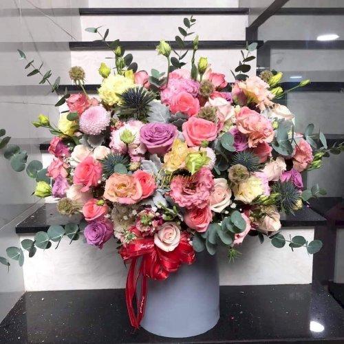 Bình hoa chúc mừng để bàn tone hồng pastel - LDNK31