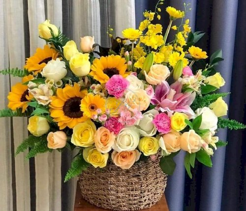 Giỏ hoa chúc mừng rực rỡ sang trọng - LDNK43