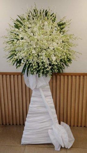 Lẵng hoa viếng tang lễ hoa lan trắng - LDNK40