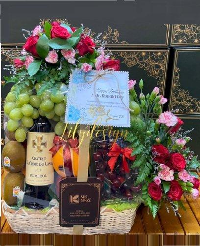 Giỏ hoa trái mừng sinh nhật sếp nam - HTNK08