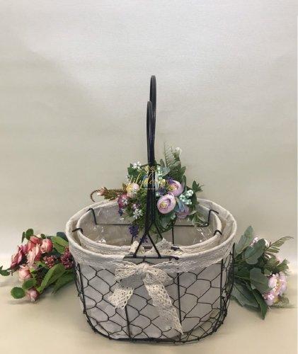 Set 2 giỏ lưới sắt màu đen cắm hoa vải tote viền ren - PLNK03