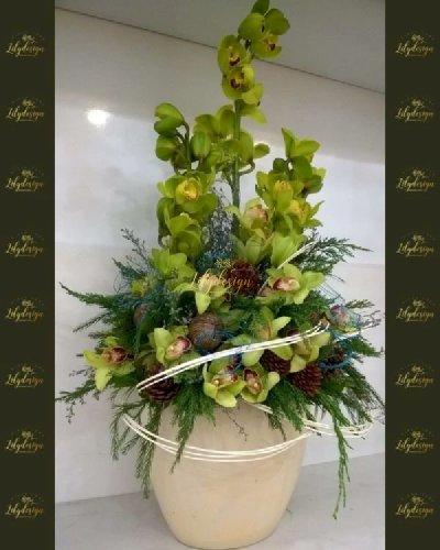 Bình hoa địa lan xanh cao cấp - LDNK243