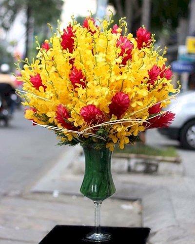 Bình hoa lan Mokara vàng cao cấp - LDNK85