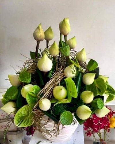 Bình hoa sen xanh sang trọng - LDNK245