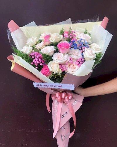 Bó hoa hồng chúc mừng sinh nhât bạn thân - LDNK107