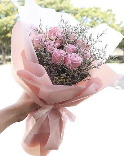 Bó hoa hồng phấn mix hoa sao tím - LDNK128
