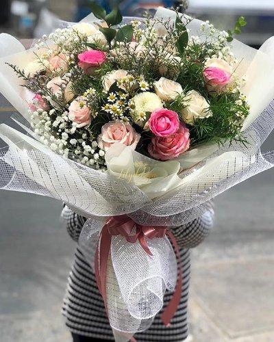 Bó hoa hồng tone trắng hồng mừng sinh nhật bạn - LDNK114
