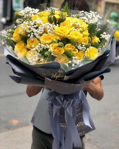 Bó hoa hồng vàng mix baby trắng - LDNK119
