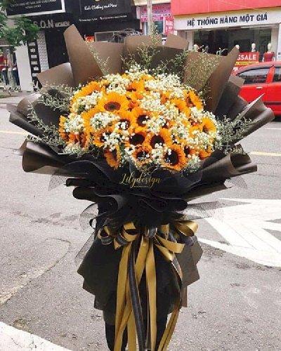 Bó hoa hướng dương khổng lồ mix baby trắng - LDNK103