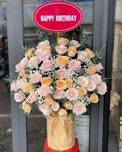 Chậu hoa hồng tươi chúc mừng sinh nhật - LDNK146