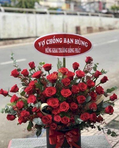 Giỏ hoa hồng đỏ chúc mừng khai trương hồng phát - LDNK187