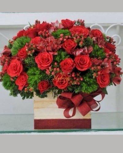 Giỏ hoa hồng mix hoa Green wicky - LDNK244