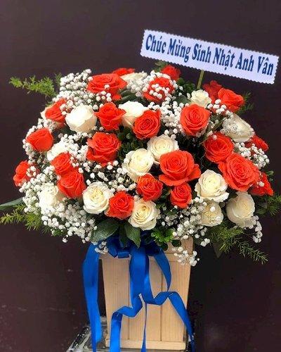 Giỏ hoa hồng tươi chúc mừng sinh nhật anh - LDNK174
