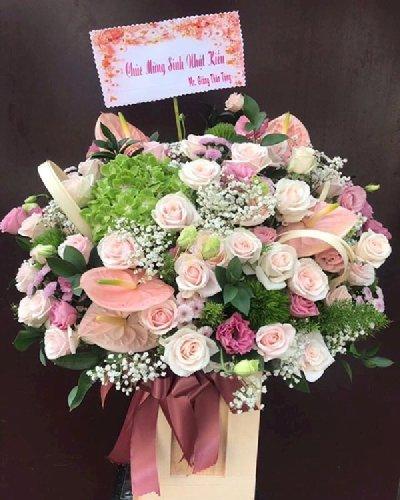 Hộp hoa sắc hồng pastel chúc mừng sinh nhật - LDNK153