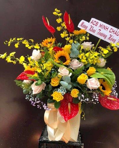 Hộp hoa tươi mừng khai trương hồng phát - LDNK154