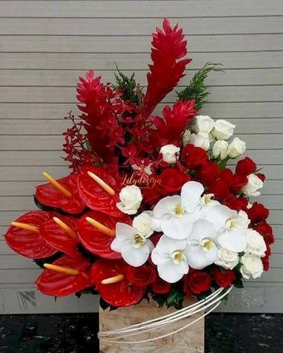 Hộp hoa tươi tone đỏ chúc mừng khai trương - LDNK160
