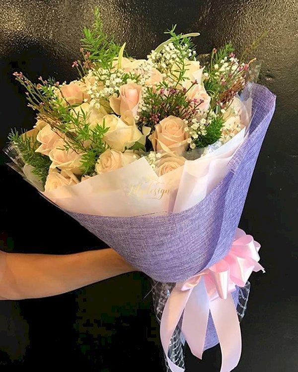 Bó hoa hồng kem tặng sinh nhật mẹ - LDNK136
