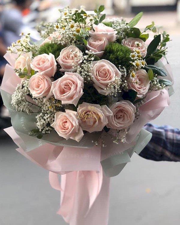 Bó hoa hồng pastel xinh xắn tặng sinh nhật nữ - LDNK132