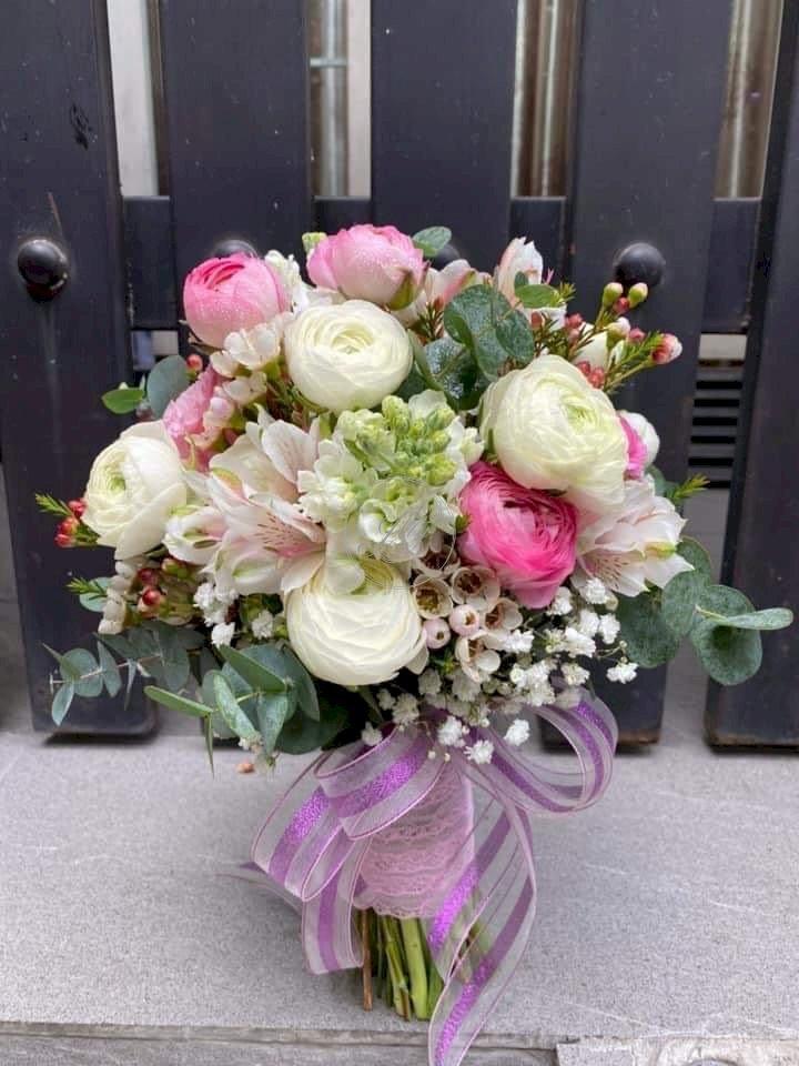 Bó hoa hồng cưới cầm tay tone màu nhẹ nhàng - LDNK13