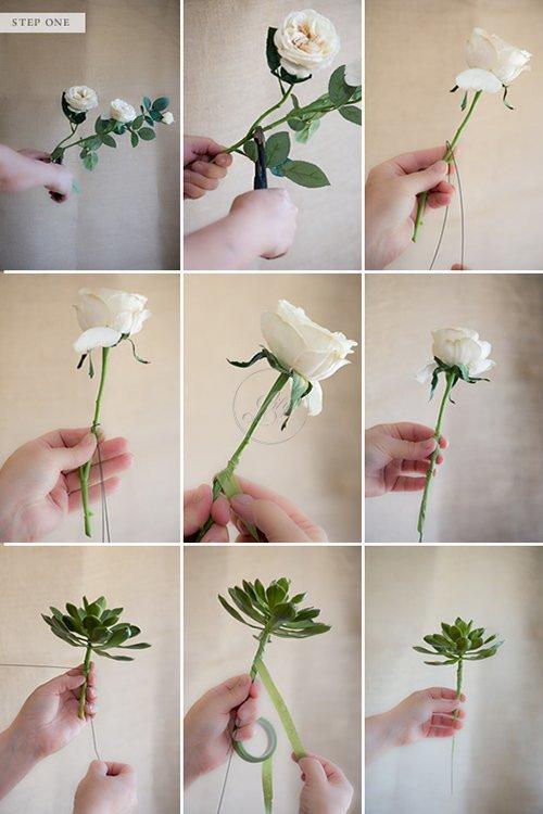 Tự bó hoa cầm tay đám cưới bằng hoa giả(2)