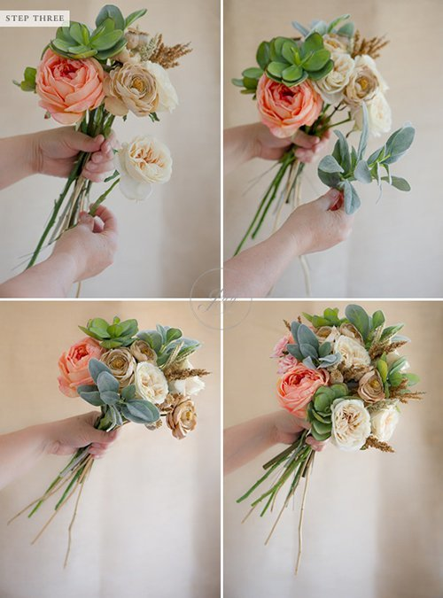 Tự bó hoa cầm tay đám cưới bằng hoa giả(1)