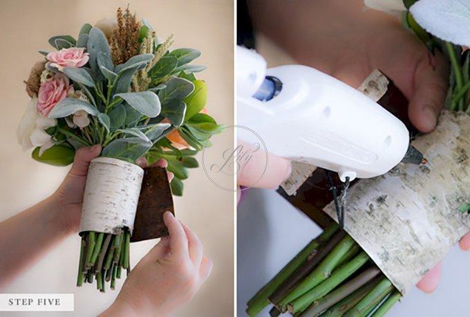 Tự bó hoa cầm tay đám cưới bằng hoa giả(4)