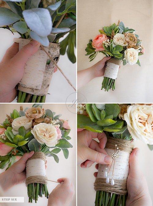 Tự bó hoa cầm tay đám cưới bằng hoa giả(5)