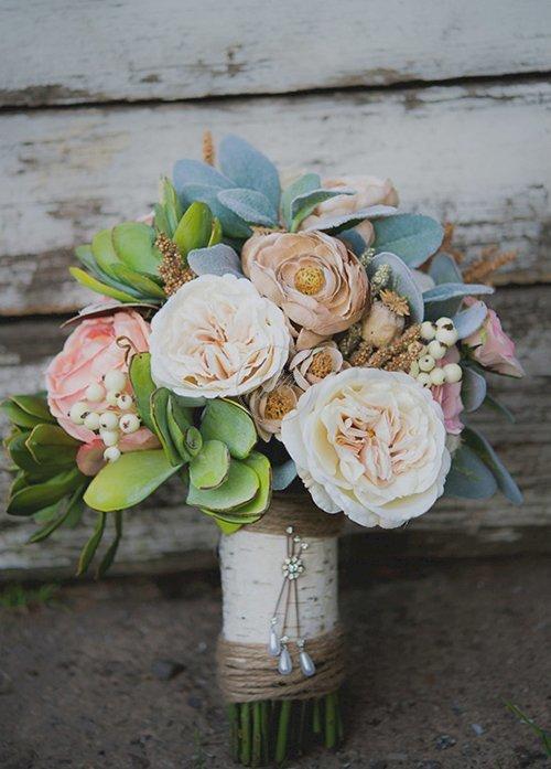 Tự bó hoa cầm tay đám cưới bằng hoa giả(7)