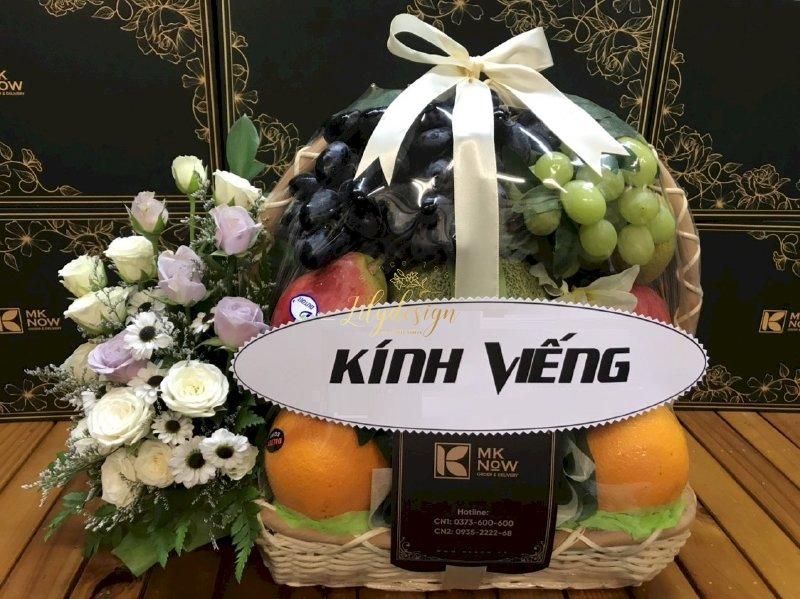 Giỏ hoa trái cây tươi viếng tang lễ - HTNK03