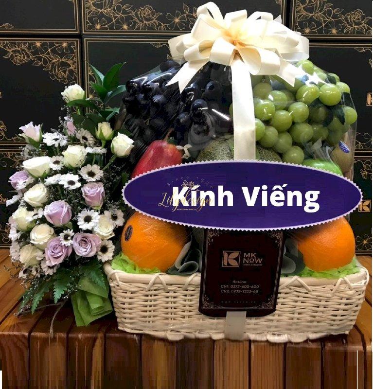 Giỏ hoa tươi trái cây cúng viếng - HTNK06