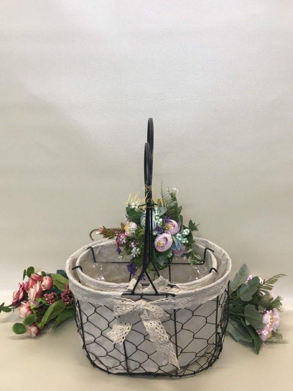 Hình ảnh giỏ lưới sắt màu đen cắm hoa vải tote viền ren - PLNK03