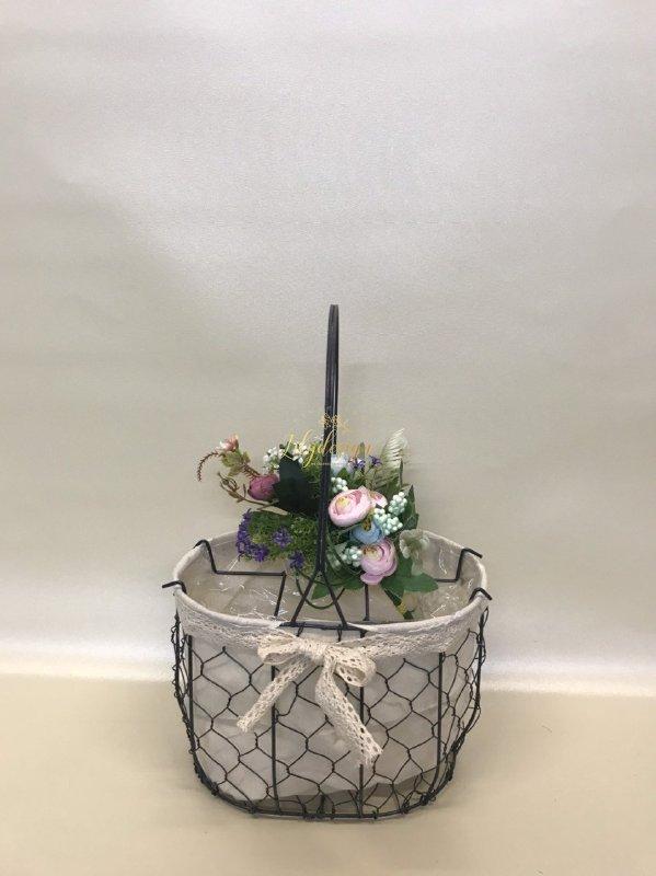 Hình ảnh giỏ lưới sắt màu đen cắm hoa vải tote viền ren - PLNK03(1)
