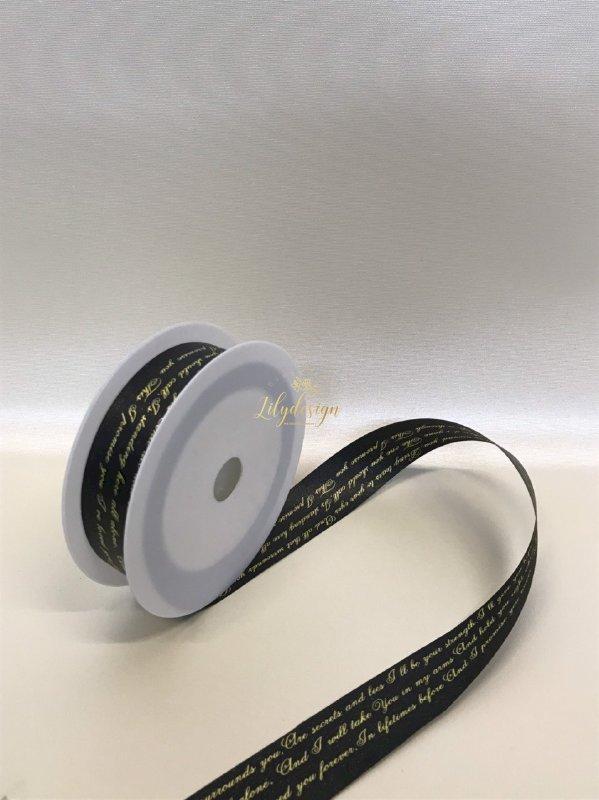 Hình ảnh ruy băng lụa cao cấp 2,5F màu đen in 3 dòng chữ