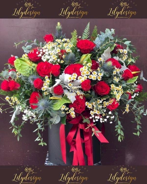 Giỏ hoa chúc ngày lễ tình nhân - LDNK235