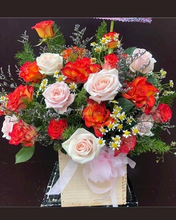 Giỏ hoa đẹp tặng cô giáo ngày 8/3 - LDNK246