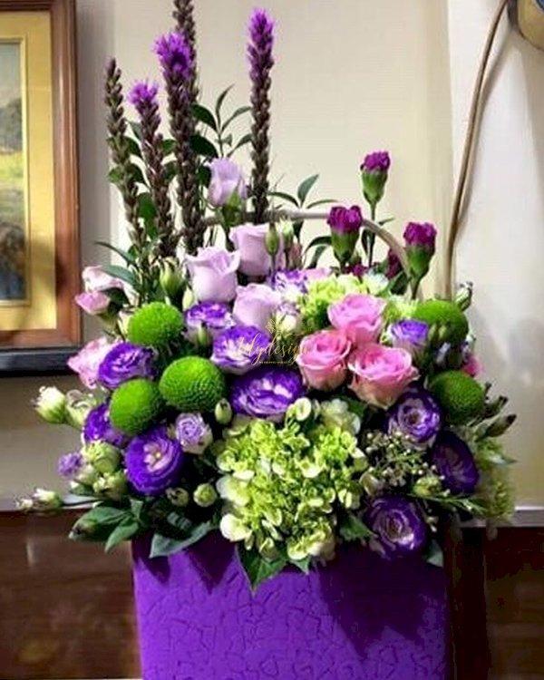 Hộp hoa chúc mừng tone tím để bàn - LDNK156