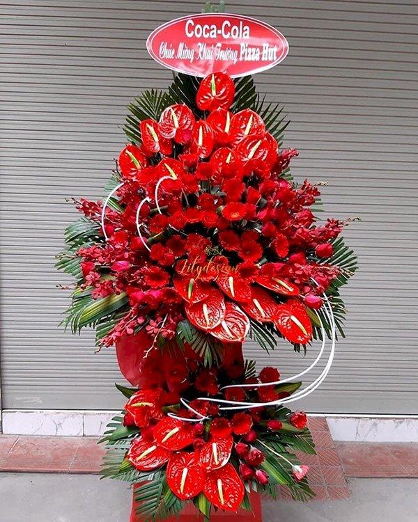 Kệ hoa chúc mừng khai trương màu đỏ 2 tầng - LDNK189